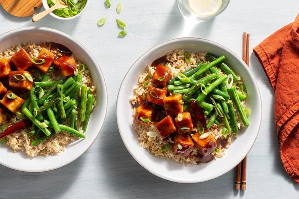 General Tso's tofu with green beans and brown rice