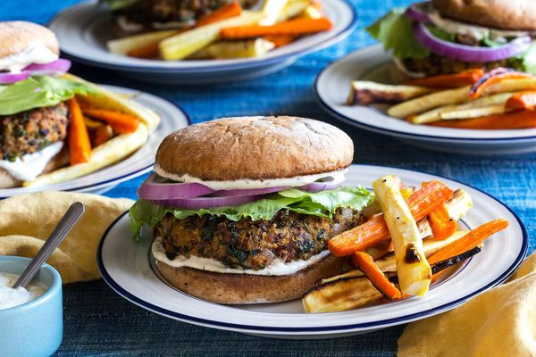 "Chickpea-quinoa burgers with roasted carrot and parsnip ""fries"""