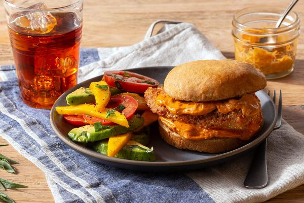 Fried chicken sandwiches with chipotle mayo and mango salad