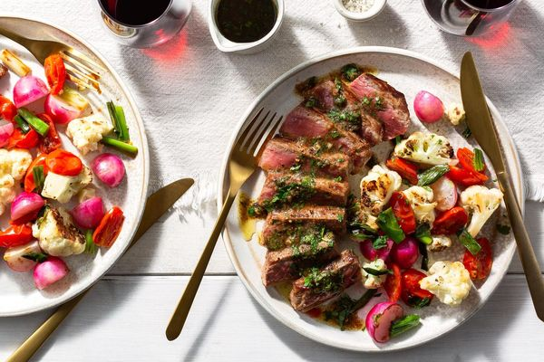 Seared steaks with bagna càuda, cauliflower, and radishes