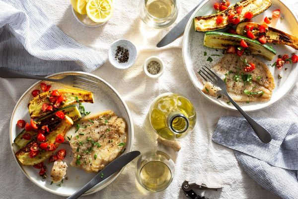 Sole meunière with summer squash and tomato-caper relish