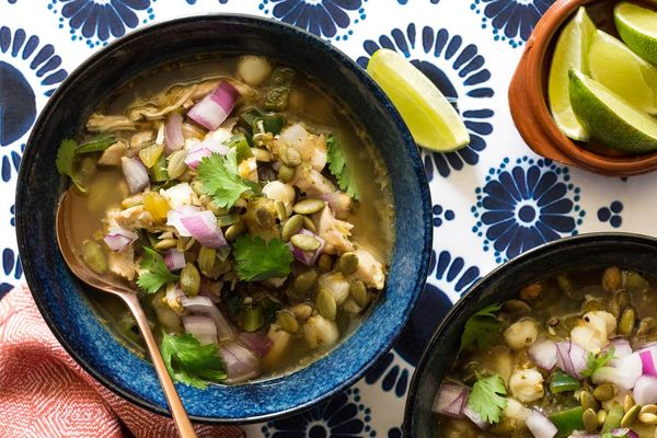 Chicken pozole verde with tomatillos and green chiles
