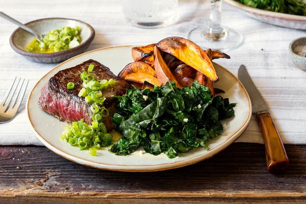 Steaks and roasted sweet potato with scallion-ginger relish