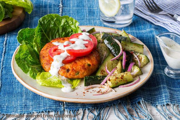 Lettuce-wrapped salmon burgers with lemon-dill mayo