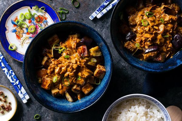 Spicy mapo eggplant with yuba and mushrooms